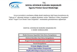 Asgari ucret devlet destegi sorgulama ekrani