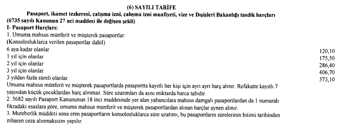 pasaport harclari 2017