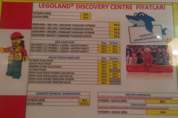 legoland discovery centre fiyatlari