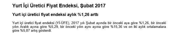 TEFE TÜFE şubat 2017, ÜFE şubat 2017