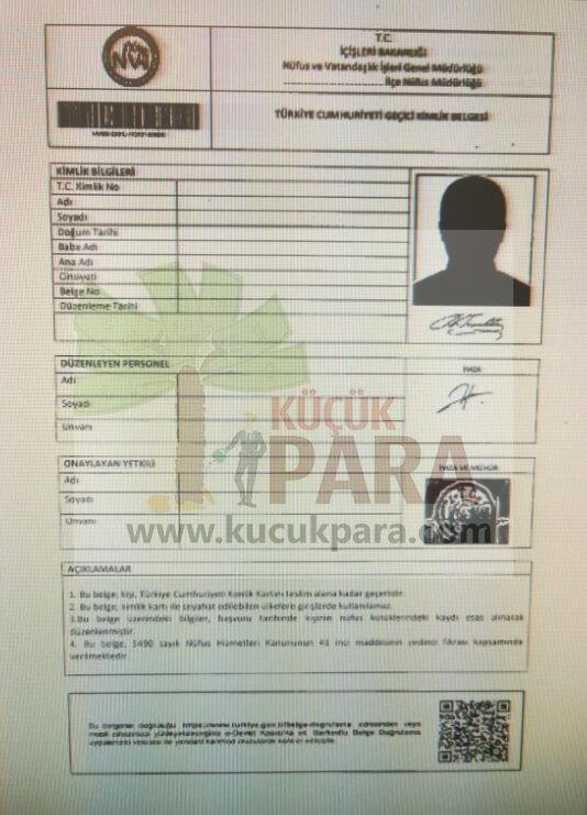 gecici kimlik belgesi, yeni kimlik karti